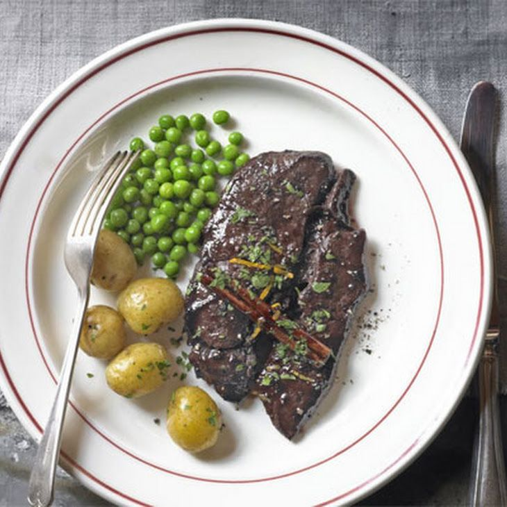 Venison steak with Port sauce Recipe Main Dishes with potatoes, olive oil, venison steaks, cracked black pepper, chopped parsley, orange, redcurrant jelly, port, cinnamon sticks