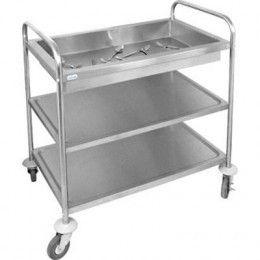 Carro con bandeja honda para recoger y transportar cubertería y otros pequeños utensilios de catering fabricada en acero inoxidable.