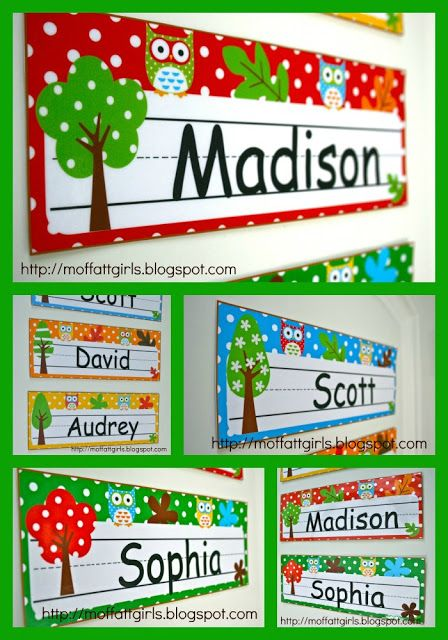 EDITABLE Owl Nameplates!  Just type and add your student's name.