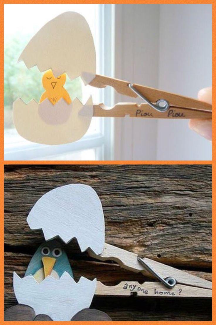 Pasen knutselen wasknijper ei met kuiken