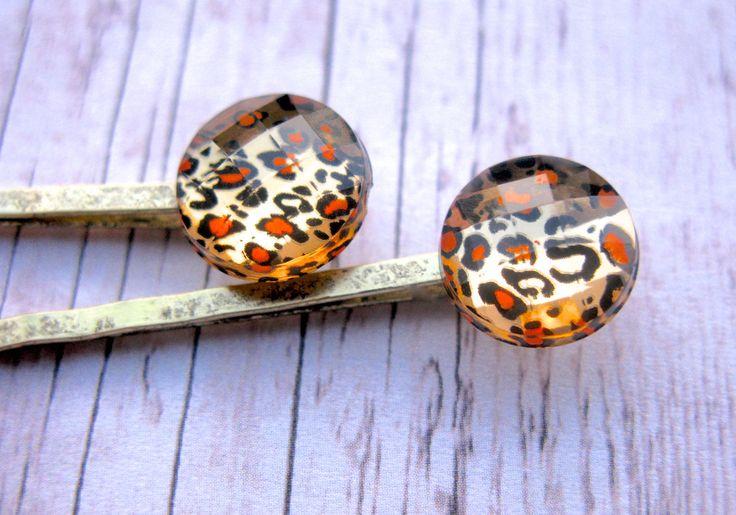 Leopard Print, Cheetah Print, Animal Print Hair Clips, Leopard Hair Clips