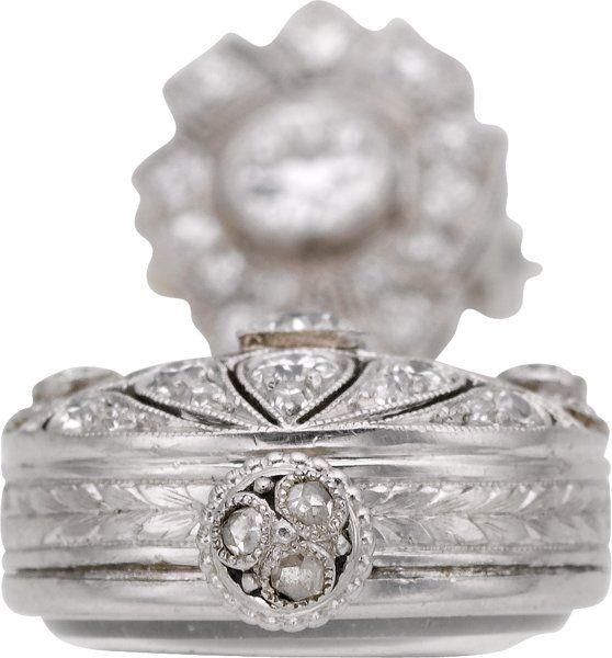 Starožitnosti: Závěsná, CH Meylan Výjimečný Platinum, Diamond & amp;  Onyx Přívěsek Watch, circa 1905. ...