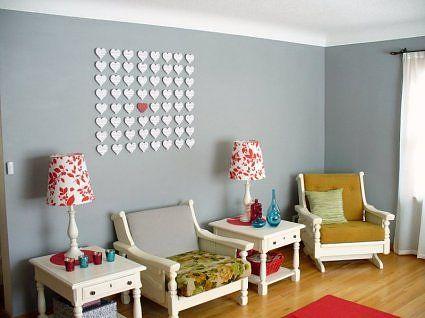really cute wall artMakin Heart, Lobbies Windows, Room Decor, Heart Wall, Offices Windows, Handmade Ideas, Grey Wall, Diy Wall Decor, Hearty Parties