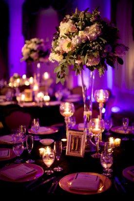 Purple Lighting Wedding Reception Romantic And Gold Virginia Mary John