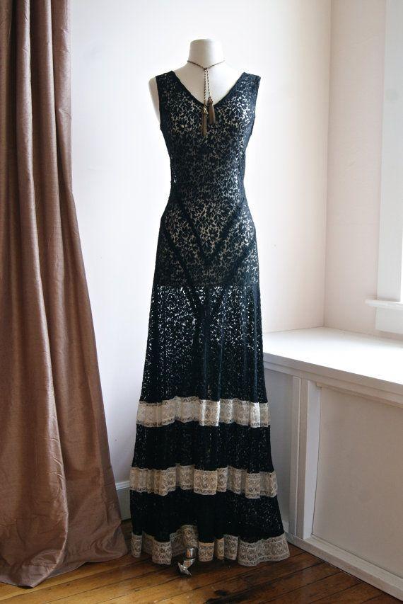 30s bias cut gown vintage 1930s art deco black by. Black Bedroom Furniture Sets. Home Design Ideas