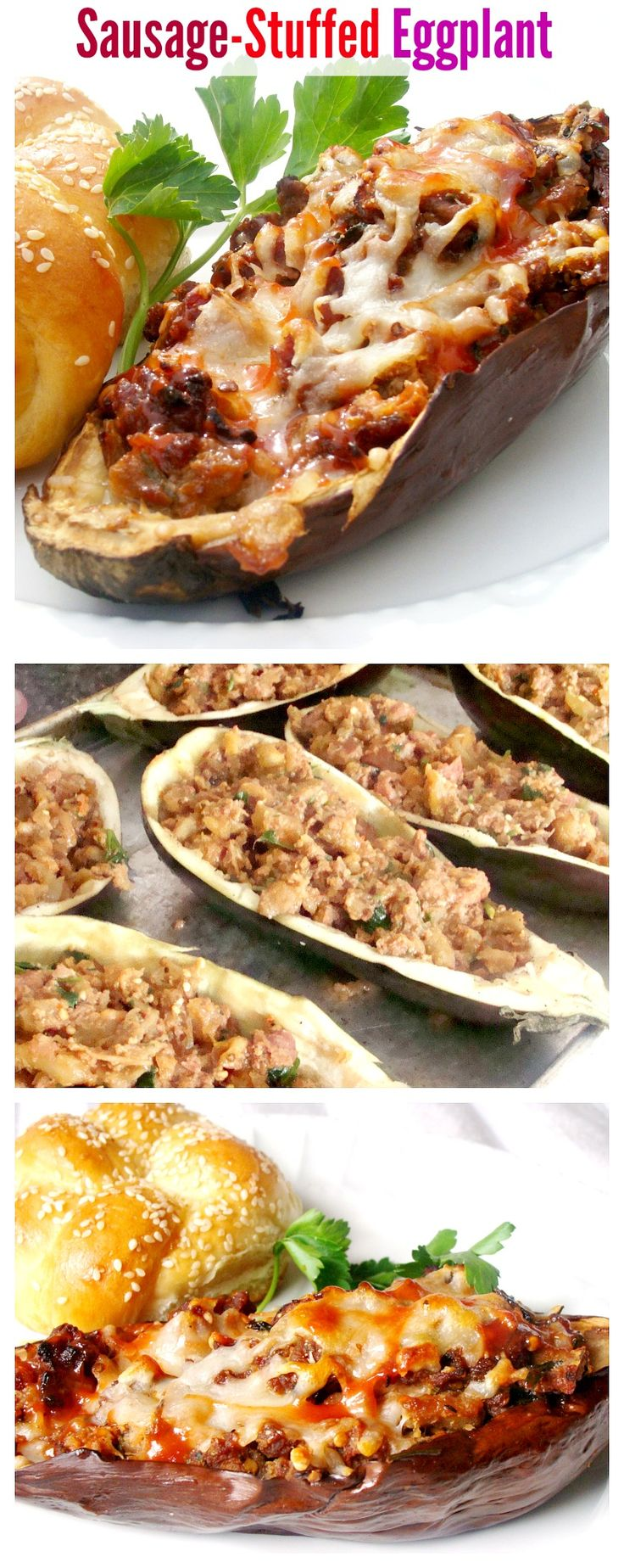 Sausage Stuffed Eggplants - Delicious dinner!!