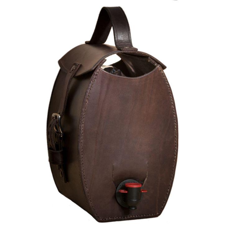 Mjolka - Dark brown leather bag for wine