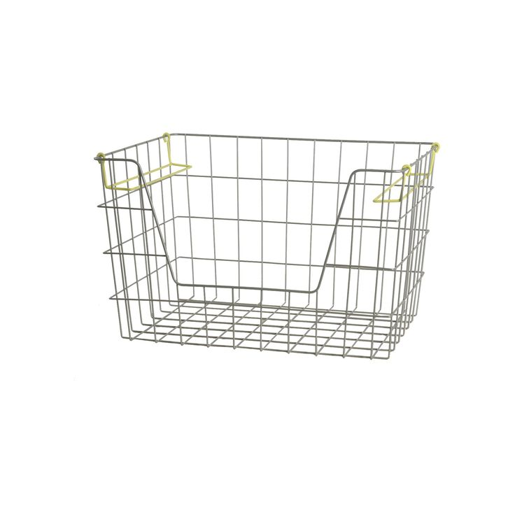 Wire Stackable Bin Large Lime - Pillowfort, Silent Lime