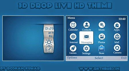 3D Drop Live HD Theme For Nokia C3-00, X2-01, Asha 200, 201, 205, 210, 302 & 320×240 Devices ~ Rkthemes | Download Free Themes For Nokia and Android Phones