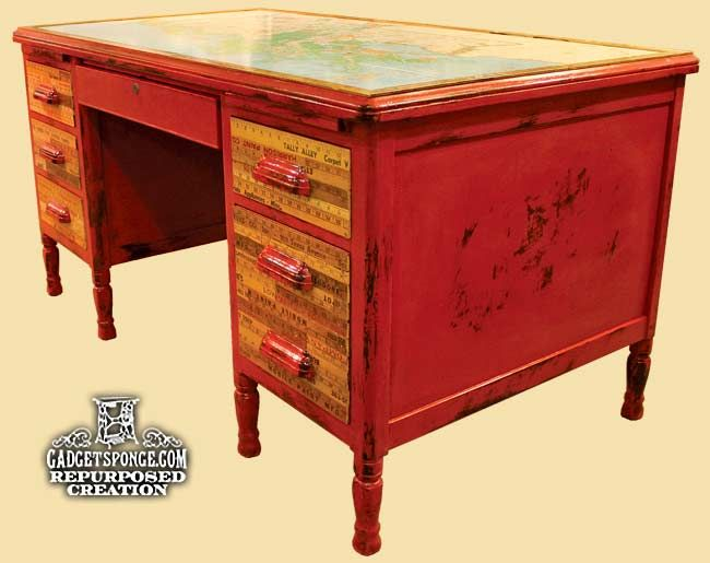 GadgetSponge.com - Repurposing, Upcycling, Birds & Nature:  Louisiana map and vintage yardstick writing desk