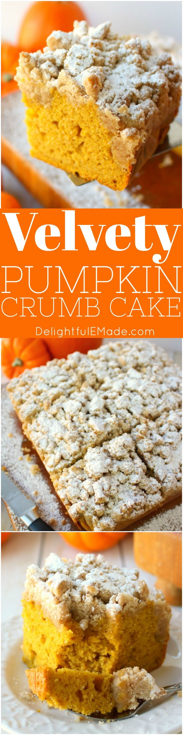 This incredibly moist, velvety pumpkin crumb cake has all your favorite fall flavors topped with an amazing cinnamon crumble. It's the perfectbreakfast treat to serve on Thanksgiving morning, or simply enjoy with your pumpkin spice latte!