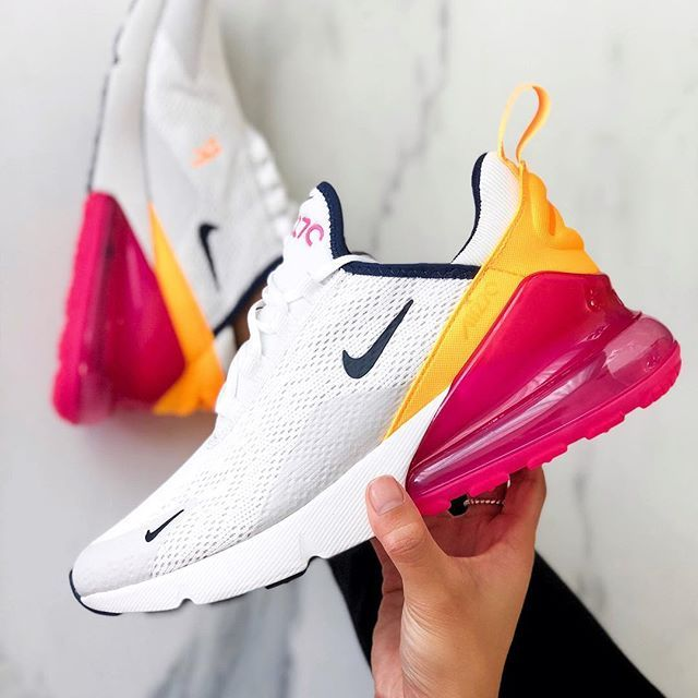 Nike Air Max 270 pink and yellow sneakers.   Chaussure