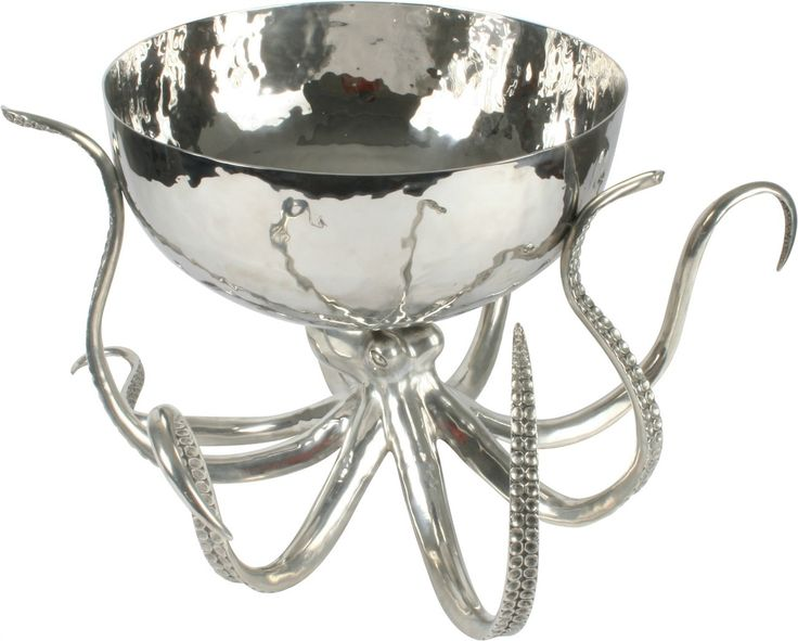 Octopus Pewter Steel Ice Tub Punch Bowl