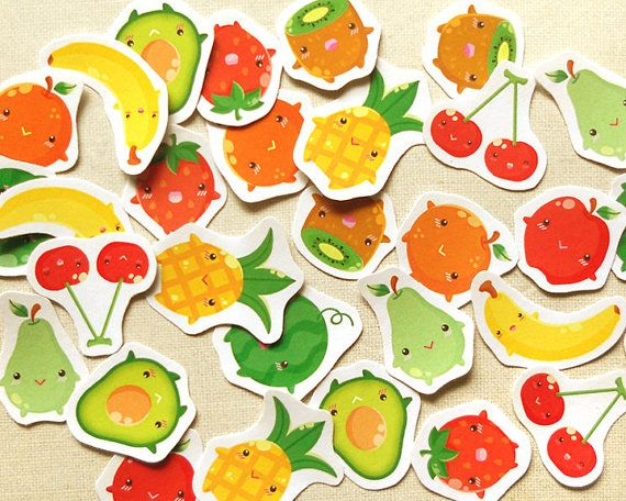 Fruits Planner Stickers. Cute Food Sticker Pack. by BeagleCakesArt