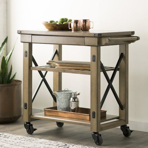 August Grove® Irwin Kitchen Island with Wooden Top