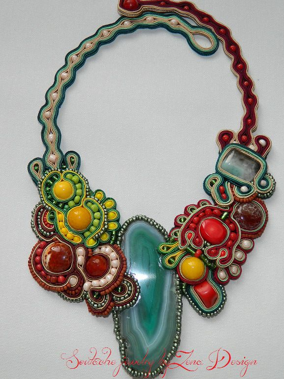 "Necklace soutache – ""A slice of nature"" 