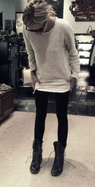 This beige cableknit sweater is comfy and cute with the leggings and combat boots