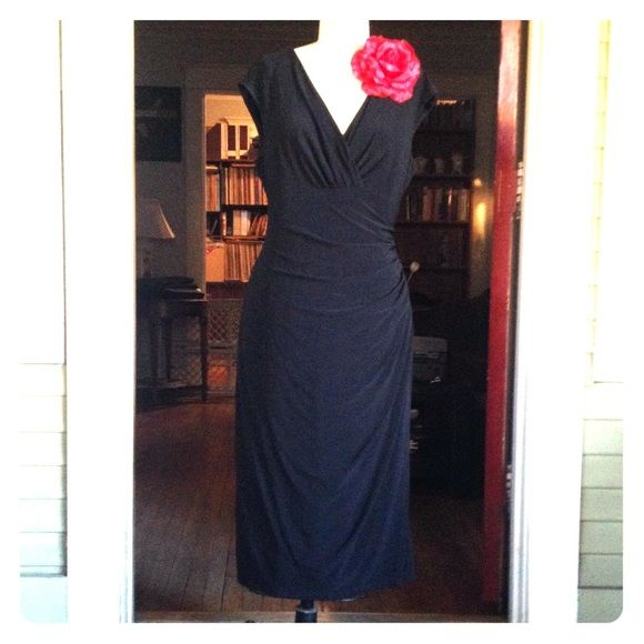 Ralp Lauren Dress Black ruched dress, figure flattering, body con. NWOT. With or without flower. Ralph Lauren Dresses Midi