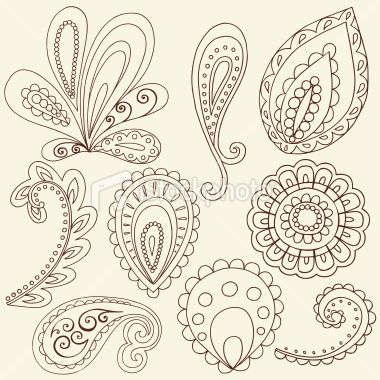 Free Paisley Designs | Henna Doodle Paisley Design Elements Royalty Free Stock Vector Art ...