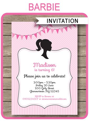INSTANT DOWNLOADS of Barbie Party Invitations. Personalize the printable template easily at home and get your Barbie birthday party started right now!