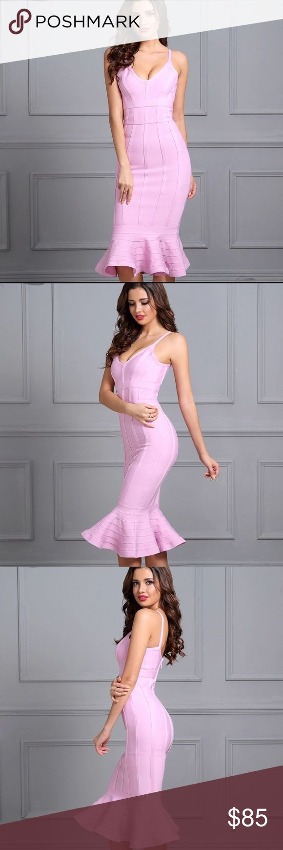 Baby Pink Mermaid Bandage Dress Body-contouring, curve-hugging dress. Strong, thick bands. High quality bandage dress. Very flattering fit for all body types. Great for any occasion. Dresses