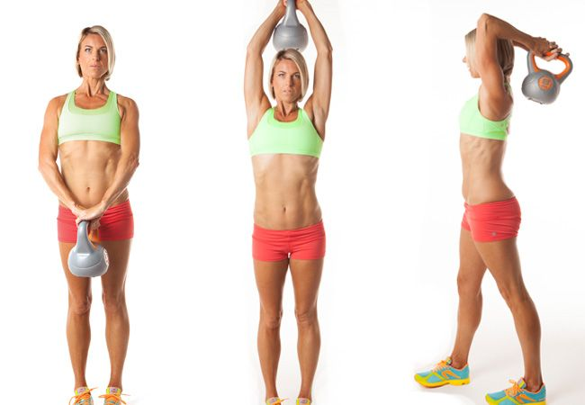 Want gorgeous, toned arms for summer? Try these triceps extensions with kettlebell. Click for our top tips!