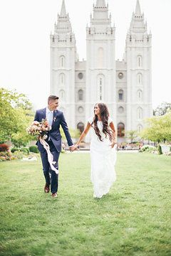 wedding photo, temple wedding, modest wedding dress, mormon wedding