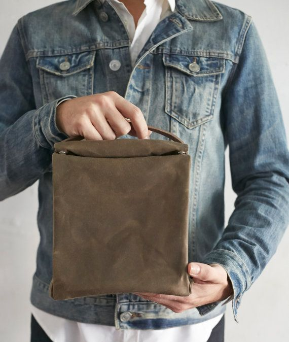 Waxed Cotton Lunch Bag with Leather Handle by MagpieCookshop