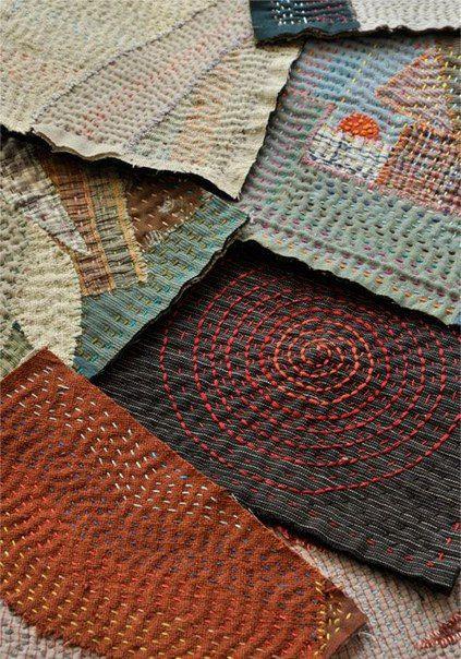 В Японии это называется боро, в Индии - кантха, и то и другое это стежковая вышивка по лоскутам. Но если индианки предпочитали цветные нитки для стежки, то японки…