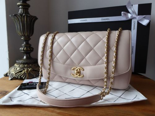 f06adfeb057ce8 Chanel Diana Large Flap Bag in Pink Blush Lambskin with Antiqued Gold  Hardware