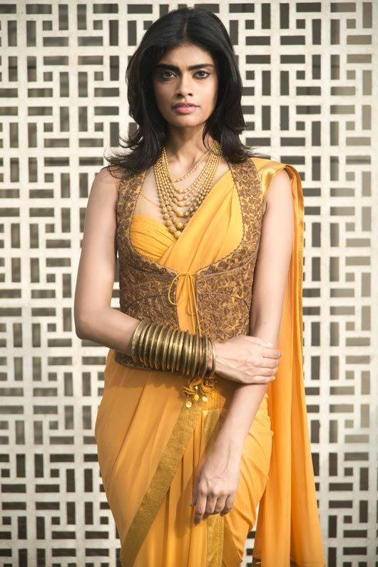 Tarun Thahiliani saree, blouse and vest