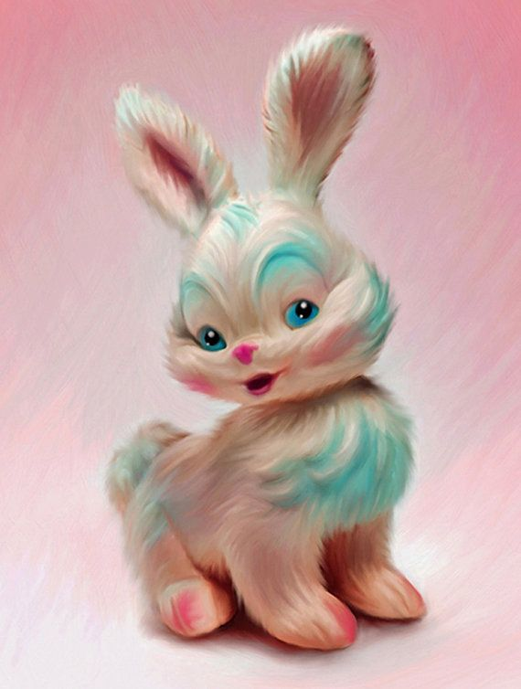 Pink Bunny Toy - Giclee Print of a digital painting by Anita Drieseberg