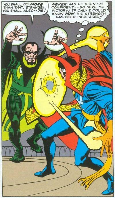 Baron Mordo fighting Dr. Strange, art by Steve Ditko