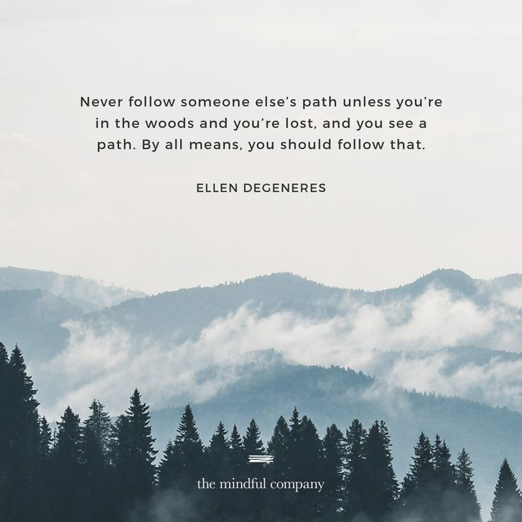 Never follow someone else's path unless you're in the woods and you're lost, and you see a path. By all means, you should follow that. — Ellen Degeneres | Funny quotes and sayings