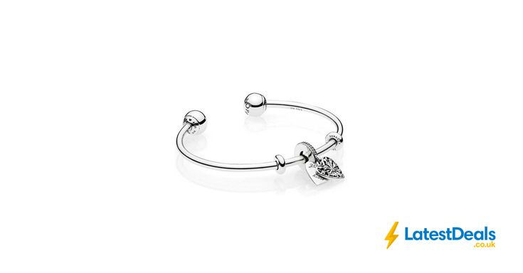 PANDORA ICE CRYSTAL HEART OPEN BANGLE Free Delivery, £90 at The Jewel Hut