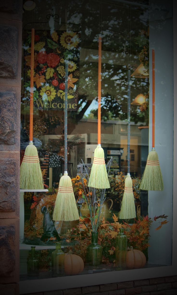 Vintage halloween window decorations - This Was A Fun Fall Window Can You Imagine I Hand Painted 24 Brooms