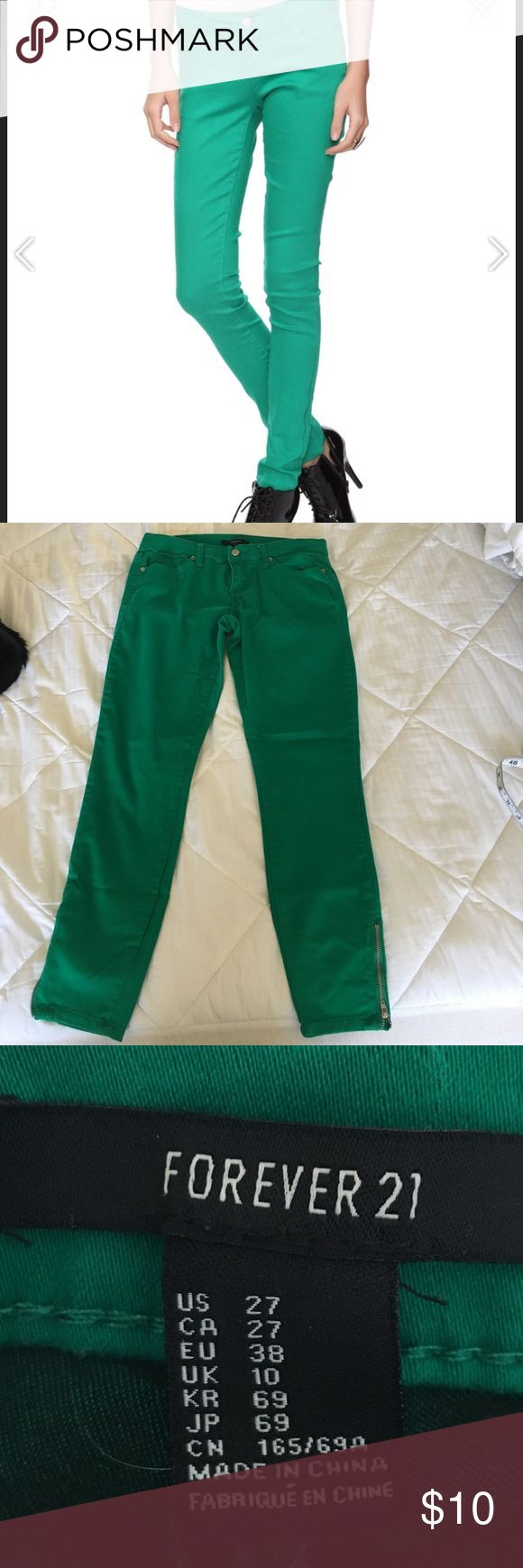 🌴💙Kelly green skinny jeans forever21 sz 27 🌴💙Kelly green skinny jeans forever21 sz 27 Forever 21 Jeans Skinny