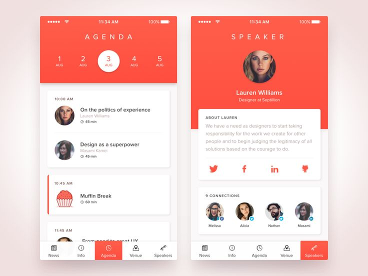 Have a good day everyone!  Today I want to introduce you design of Agenda - scheduling app for upcoming Design Encounters conference.  Don't forget to check out full size :)  Follow me also on  Twi...