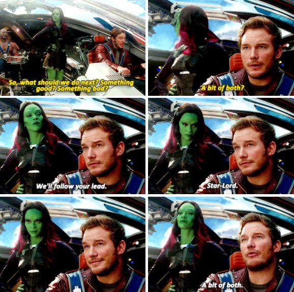 """Something good? Something bad? A bit of both?"" - Star-Lord and Gamora #GuardiansOfTheGalaxy"