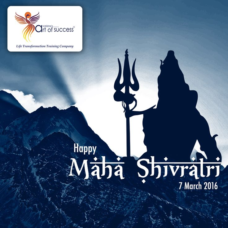 +Maha Shivaratri 2015  is a great #festival  of union of God #shiva    and Goddess #Parvati . The day also reminds us the power of #love and strong will. On this auspicious occasion Art of Success wishes you all a very #HappyShivaratri   . May the blessings of #ShivaShanker   be with all of you. May his glorious divine and merciful attributes remind us of our own abilities and strive to lift ourselves to heights.