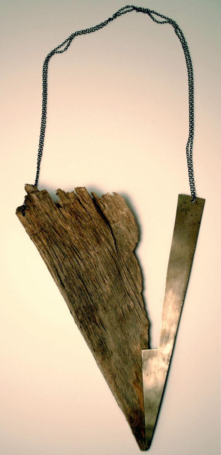 Holz - Neusilber, geschwärzte Silberkette, Gießharz