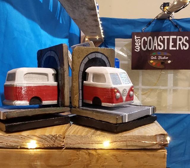 3D printed VW Bus bookends by Wendy Johnson, West Coasters