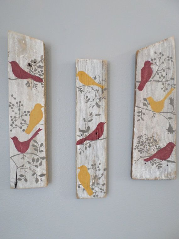 ON SALE Rustic Bird Sign Country Birds by ThreeTwigsDesigns