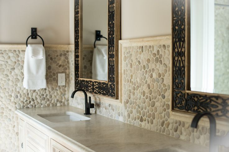 Large Java Tan Pebble Tile High End Bathroom Backsplash