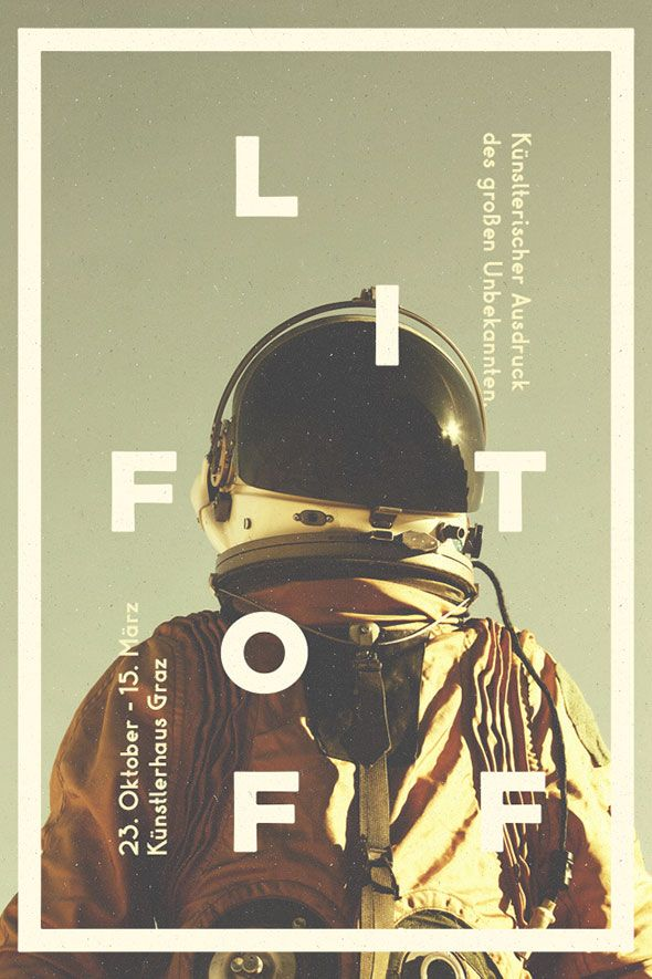 """http://bashooka.com/inspiration/impressive-flyer-designs-inspiration/. At first, I was appealed to this image by the hue and the astronaut in the picture. I really enjoyed that. However, I was a little confused at the """"LIFT OFF"""" lettering, it took me a while to figure out. I am not sure if that was the creators intent, as a way of luring people in. Overall I really enjoy the feel of this flyer. It is well centered, and the text is very attractive in this flyer."""