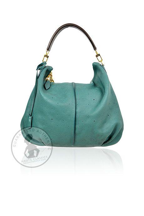LOUIS VUITTON Turquoise Monogram Mahina Leather Selene MM Bag - HauteClassics