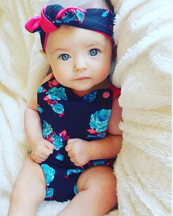 Bright Floral Baby Bubble Romper Set  Baby Girl by LilLizaJanes