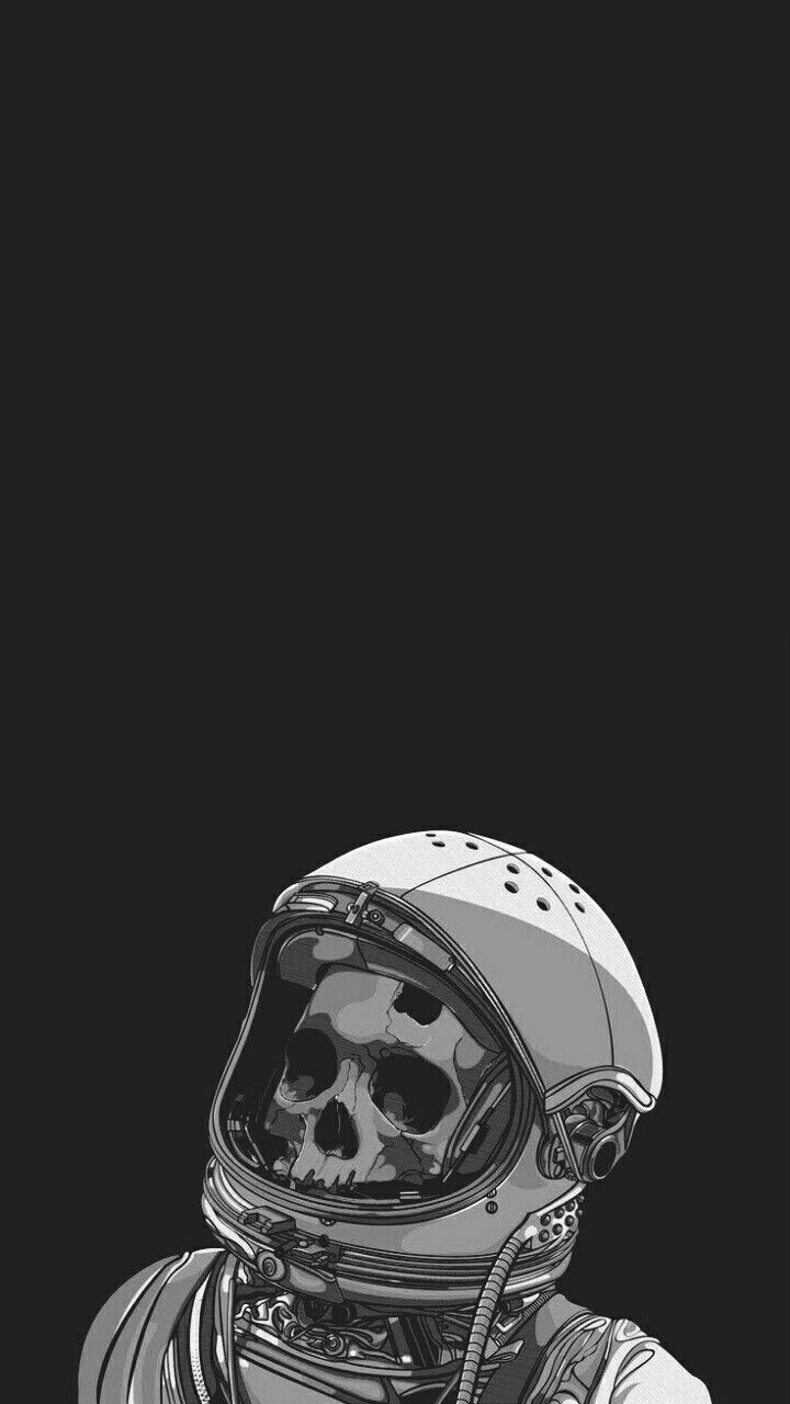Papel De Parede Caveira Wallpaper Black Astronauta Wallpaper