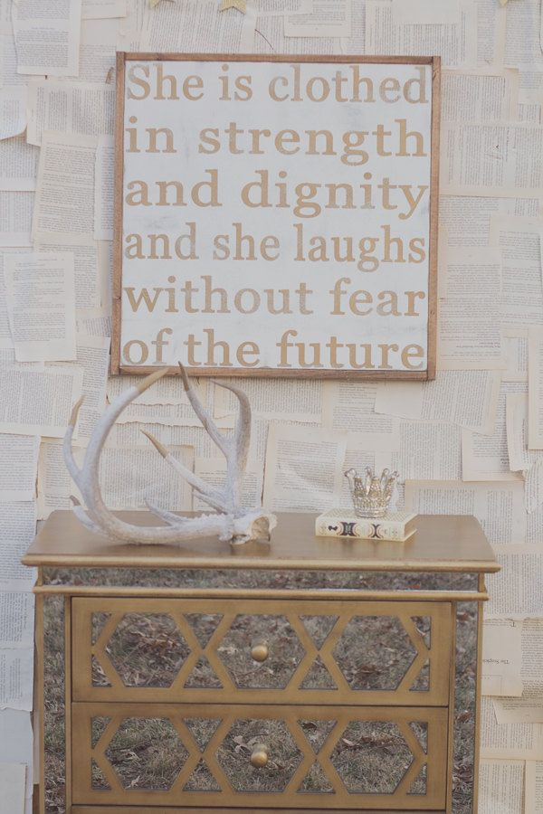 Clothed in Strength & Dignity Sign by TheHouseofBelonging on Etsy, $100.00