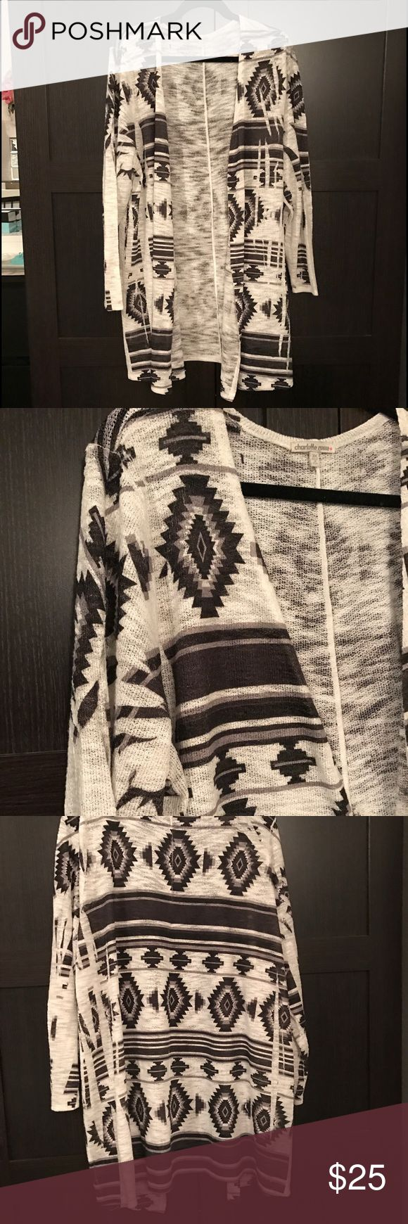 Charlotte Russe tribal sweater Charlotte Russe cardigan sweater with a grey tribal print on cream background Charlotte Russe Sweaters Cardigans
